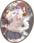 bad_id beniho_sakura biribiri blush brown_eyes brown_hair coin misaka_mikoto school_uniform solo to_aru_kagaku_no_railgun to_aru_majutsu_no_index