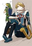 bandage bandages blonde_hair braid fairy harp hat instrument link long_hair mask nintendo o-yuki ocarina ocarina_of_time pointy_ears princess_zelda red_eyes reverse_trap sheik shield surcoat the_legend_of_zelda