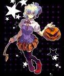 akutsu_(yuumi) drill hair_ornament halloween jack-o'-lantern jack-o-lantern kamina kamina_shades multicolored_hair nia_teppelin pumpkin ribbon short_hair solo tengen_toppa_gurren_lagann thigh-highs thighhighs two-tone_hair