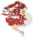 boots brown_hair dosanko drill_hair food food_themed_clothes green_eyes hairband ice_cream long_hair solo waitress