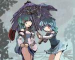 blue_hair gatau geta green_eyes green_hair heterochromia karakasa_obake kochiya_sanae rain red_eyes tatara_kogasa tongue touhou umbrella wet