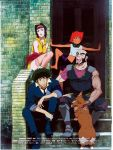 androgynous barefoot beard bike_shorts blush_stickers cowboy_bebop dark_skin dog edward_wong_hau_pepelu_tivrusky_iv ein_(cowboy_bebop) facial_hair faye_valentine goggles goggles_around_neck highres jet_black midriff muscle official_art purple_hair short_hair spike_spiegel thigh-highs thighhighs