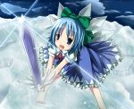 blue_eyes blue_hair bow cirno hair_bow kazura short_hair sword touhou weapon wings