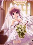 akane-iro_ni_somaru_saka bouquet dress earrings elbow_gloves flower gloves jewelry long_hair nagase_minato necklace open_mouth ryohka thigh-highs veil wedding_dress