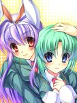 animal_ears arano_takeshi blazer blue_eyes blue_hair blush bunny_ears comforting fake_animal_ears gradient_hair green_hair halftone halftone_background hand_on_head hands_together long_hair multicolored_hair multiple_girls necktie rabbit_ears red_eyes reisen_udongein_inaba school_uniform shikieiki_yamaxanadu short_hair smile takeda_aranobu touhou