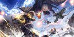 dragon fighting fireball fortress gauntlets hairband isu_(artist) pixiv_fantasia pixiv_fantasia_fallen_kings sky