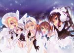 5girls animal_ears black_hair blonde_hair blue_eyes brown_hair cecilia_alcott charlotte_dunois choco earmuffs earrings eyepatch gloves green_eyes hair_ornament hair_ribbon hand_to_own_mouth highres huang_lingyin infinite_stratos jewelry laura_bodewig looking_at_viewer multiple_girls open_mouth rabbit_ears red_eyes ribbon shinonono_houki silver_hair sky smile snow winter