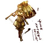 1girl armor breasts cleavage covered_eyes dark_souls executioner_smough genderswap hammer large_breasts mask taamo_yu translation_request weapon