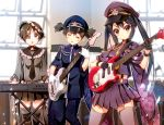 3girls black_hair brown_eyes brown_hair cosplay eyepatch gloves guitar hat hirasawa_ui instrument k-on! long_hair military military_uniform multiple_girls nakano_azusa nyoronyoro peaked_cap pleated_skirt ponytail rising_sun sailor_collar senbon-zakura_(vocaloid) short_hair skirt suspenders suzuki_jun synthesizer thigh-highs twintails uniform