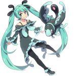 1girl aqua_eyes aqua_hair dress hatsune_miku long_hair lumineon pantyhose pokemon pokemon_(creature) reki_(arequa) smile twintails very_long_hair vocaloid white_background