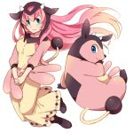 1girl blue_eyes blush dress hands_together looking_at_viewer megurine_luka miltank pink_hair pokemon pokemon_(creature) reki_(arequa) simple_background smile vocaloid