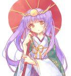 haori japanese_clothes kimono oriental_umbrella pf purple_hair puzzle_&_dragons red_eyes simple_background solo twintails umbrella white_background yomi_(p&d)