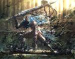1boy armor artorias_the_abysswalker cape dark_souls full_armor gauntlets helmet huge_weapon knight male michairu solo sword weapon