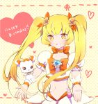 1girl birthday blonde_hair choker cure_sunshine english hair_ornament hair_ribbon happy happy_birthday heart heartcatch_precure! lacolon long_hair looking_at_viewer magical_girl midriff myoudouin_itsuki navel potpourri_(heartcatch_precure!) precure puffy_sleeves ribbon shirt skirt smile solo twintails wrist_cuffs yellow_eyes