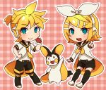 1boy 1girl :d aqua_eyes black_legwear blonde_hair bow emolga hair_bow hand_on_hip headphones kagamine_len kagamine_rin kneehighs looking_at_viewer necktie open_mouth plaid plaid_background poke_ball pokemon pokemon_(creature) reki_(arequa) short_hair shorts smile vocaloid
