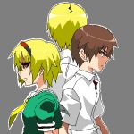 1girl 2boys aoiaka_(blueled) back-to-back blonde_hair brother_and_sister brown_hair dress green_dress height_difference higurashi_no_naku_koro_ni houjou_satoko houjou_satoshi looking_away lowres maebara_keiichi multiple_boys oekaki red_eyes sad shirt short_hair siblings standing