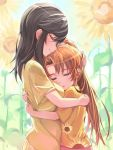 2girls black_hair brown_hair closed_eyes cuddling field flower flower_field hand_on_head highres ichijou_hotaru koshigaya_komari long_hair michairu multiple_girls non_non_biyori ponytail smile sunflower yuri