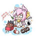 animal_ears blazblue cat_ears cat_tail chibi glasses iron_tager kokonoe neko_yume pink_hair tail toy