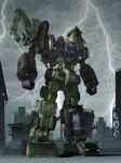 80s cityscape clouds decepticon devastator_(transformers) epic highres mecha oldschool realistic robot science_fiction storm transformers