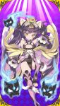 amber_eyes animal_ears bangs blade_(galaxist) cat_ears cat_paws cat_tail gauntlets ghost headgear hime_cut japanese_clothes kimono nekomata paws purple_hair spirits tail twintails uchi_no_hime-sama_ga_ichiban_kawaii