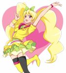 1girl blonde_hair boots cosplay crossover cure_lovely cure_lovely_(cosplay) cure_peach earrings eyelashes fresh_precure! hair_ornament hair_ribbon happinesscharge_precure! happy heart heart_background jabara921 jewelry jumping lollipop_hip_hop long_hair looking_at_viewer magical_girl momozono_love open_mouth pink_eyes precure pullover ribbon shirt skirt smile solo tagme thigh_boots thighhighs thighs trait_connection twintails white_background wrist_cuffs zettai_ryouiki