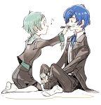 aqua_hair arisato_minato blue_hair drawing_on_face full_body indian_style marker persona persona_3 school_uniform seiza short_hair sitting socks sutei_(giru) yamagishi_fuuka yuuki_makoto