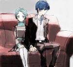 aqua_hair arisato_minato blue_hair blush couch couple hetero holding_hands persona persona_3 school_uniform short_hair sitting sutei_(giru) yamagishi_fuuka yuuki_makoto