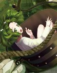 1girl bucket green_eyes green_hair hair_bobbles hair_ornament in_bucket in_container kisume marblewars open_mouth rope short_hair touhou twintails well