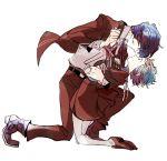 aqua_hair arisato_minato couple eye_contact full_body hetero holding_hands hug kneeling looking_at_another persona persona_3 profile school_uniform short_hair sutei_(giru) yamagishi_fuuka yuuki_makoto
