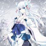 1girl blue_eyes breasts cleavage hair_ornament japanese_clothes merlusa original ribbon snow solo white_hair