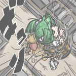 blonde_hair bow bucket giantess green_eyes green_hair hair_bobbles hair_bow hair_ornament horns ibuki_suika in_bucket in_container kisume kureha_mitsushige parody shingeki_no_kyojin spinning three-dimensional_maneuver_gear touhou