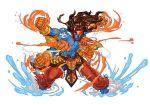 1boy abs blue_skin facial_mark fire fusion gauntlets god jojo_no_kimyou_na_bouken long_hair long_pants multiple_arms mythology puzzle_&_dragons shiva star_platinum tagme