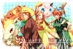 2014 anger_vein blue_(pokemon) brown_hair bulbasaur charmander flower hair_flower hair_ornament happy_new_year japanese_clothes jigglypuff kimono long_hair naru_(andante) obi ookido_green paddle pikachu pokemon pokemon_(creature) pokemon_(game) pokemon_frlg ponyta red_(pokemon) red_(pokemon)_(remake) sash short_hair sleeves_rolled_up squirtle wide_sleeves
