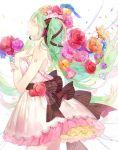 1girl aqua_hair braid closed_eyes dress flower hatsune_miku headset long_hair open_mouth p0ckylo ribbon smile solo twintails vocaloid