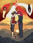 2boys ahoge backwards_hat baseball_cap black_hair capri_pants eye_contact face-to-face flower gold_(pokemon) hat ho-oh holding_hands looking_at_another lugia male moiko multiple_boys pokemon pokemon_(creature) pokemon_(game) pokemon_hgss redhead silver_(pokemon) standing