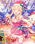 1girl artist_request blonde_hair clarice_(idolmaster) closed_eyes gloves hat idolmaster idolmaster_cinderella_girls microphone official_art santa_hat tagme