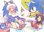 bed breast_rest breasts cleavage cosplay costume crossover cup hat namesake pillow pink_hair plush red_eyes shadow_the_hedgehog sonic super_sonico