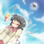 1girl android armored_core black_hair blush bowtie closed_eyes clouds cloudy_sky crossover dutch_angle from_below gaketsu highres mecha nichijou no_nose recon_unit red_skirt school_uniform science_fiction shinonome_nano short_hair skirt sky solo spoken_exclamation_mark winding_key