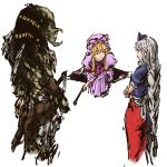 2girls alien blonde_hair braid crossover fan folding_fan gap hat highres long_hair multiple_girls nurse_cap predator predator_(film) silver_hair single_braid touhou yagokoro_eirin yakumo_yukari