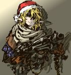 1girl ammunition_belt blonde_hair gloves green_eyes gun hair_over_one_eye hat light_machine_gun light_smile mizuhashi_parsee nameo_(judgemasterkou) pointy_ears santa_hat scarf solo touhou weapon