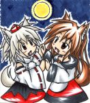2girls animal_ears bare_shoulders blush brown_hair detached_sleeves fang happy hat highres imaizumi_kagerou inubashiri_momiji looking_up moon multiple_girls open_mouth red_eyes silver_hair skirt tagme tail tokin_hat touhou wolf_ears wolf_tail