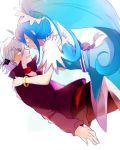 1boy 1girl bat_wings blue_eyes blue_hair choker cure_diamond dokidoki!_precure head_wings hishikawa_rikka ira_(dokidoki!_precure) long_hair magical_girl ponytail precure short_hair silver_hair wings xxxceller