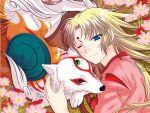 amaterasu blonde_hair blue_eyes flower issun japanese_clothes long_hair ookami_(game) uraka ushiwakamaru white_wolf wink
