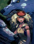 1girl animal facepaint headdress mononoke_hime mosaur oversized_animal san tooth_necklace wolf