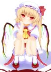 blood bloomers chin_rest flandre_scarlet flat_chest hat interstellar red_eyes sitting slit_pupils smile solo touhou wings