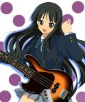 bass_guitar black_eyes black_hair guitar instrument k-on! long_hair miracle school_uniform solo