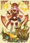 boots dragon dragon_girl dragon_wings fire hat horns kochimo low_wings monster_girl pink_hair solo thigh-highs thigh_boots thighhighs wings