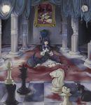 bekkourico blood blue_hair cat_tail chair chess column cup dress frame frederica_bernkastel gohda_toshiro gouda_toshirou kanon_(umineko) kneeling kumasawa_chiyo nanjou_terumasa painting_(object) pillar pillow pink_eyes portrait_(object) ribbon ripples ronoue_genji ruins saucer shannon sitting smile tail tail_ribbon tapestry teacup throne_room umineko_no_naku_koro_ni ushiromiya_ange ushiromiya_battler ushiromiya_eva ushiromiya_george ushiromiya_hideyoshi ushiromiya_jessica ushiromiya_krauss ushiromiya_kyrie ushiromiya_maria ushiromiya_natsuhi ushiromiya_rosa ushiromiya_rudolf wariza