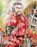 agahari armor barding beard duessel facial_hair fire_emblem fire_emblem:_seima_no_kouseki fire_emblem_sacred_stones gauntlets grey_hair helmet horse male manly multicolored_hair mustache purple_hair solo two-tone_hair