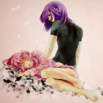 barefoot blush closed_eyes feathers feet feldt_grace gundam gundam_00 legs lips pink_hair purple_hair red_eyes sleeping ta_ko tieria_erde